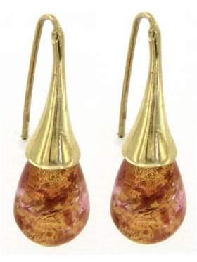Σκουλαρίκια ασημένια επιχρυσωμένα με κρύσταλλο Μουράνο σε χρυσαφή χρώμα