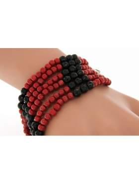 Βραχιόλι με ασημένιο κούμπωμα και κόκκινες και μαύρες πέτρες
