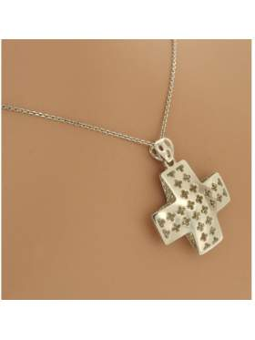 Σταυρός ασημένιος επιπλατινωμένος με αλυσίδα χωρίς πέτρες