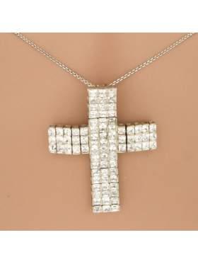 Σταυρός ασημένιος επιπλατινωμένος με αλυσίδα και άσπρες πέτρες ζιργκόν
