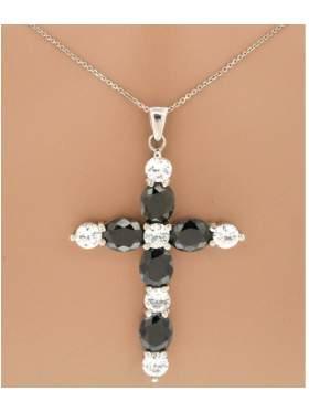 Σταυρός ασημένιος επιπλατινωμένος με αλυσίδα και άσπρες μαύρες πέτρες ζιργκόν