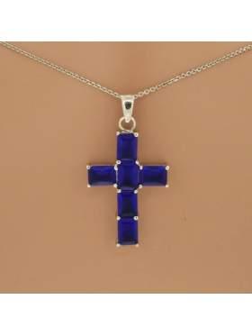 Σταυρός ασημένιος επιπλατινωμένος με αλυσίδα και μπλε πέτρες ζιργκόν
