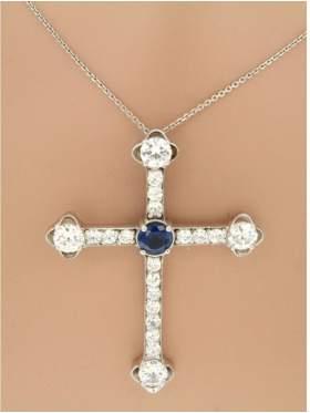 Σταυρός ασημένιος επιπλατινωμένος με αλυσίδα και διάφορα χρώματα πέτρες άσπρο μπλε