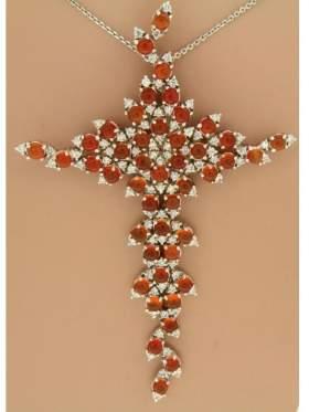 Σταυρός ασημένιος επιπλατινωμένος με αλυσίδα και λευκές πέτρες με σιτρίν
