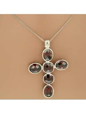 Σταυρός ασημένιος επιπλατινωμένος με αλυσίδα και βυσσινί πέτρες ζιργκόν