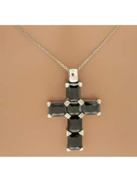 Σταυρός ασημένιος επιπλατινωμένος με αλυσίδα και μαύρες πέτρες ζιργκόν