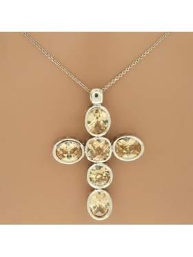 Σταυρός ασημένιος επιπλατινωμένος με αλυσίδα και κίτρινες πέτρες ζιργκόν