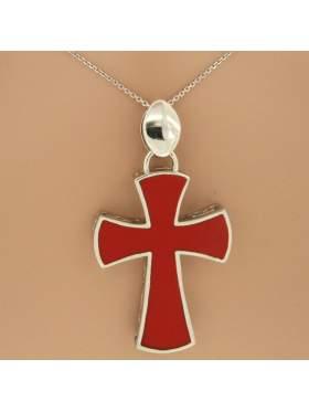 Σταυρός ασημένιος επιπλατινωμένος με αλυσίδα και κόκκινο σμάλτο