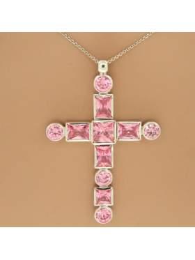 Σταυρός ασημένιος επιπλατινωμένος με αλυσίδα και ροζ πέτρες ζιργκόν