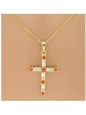 Σταυρός ασημένιος επιχρυσωμένος με αλυσίδα και άσπρες πέτρες με πορτοκαλί χρώμα