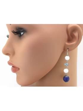 Σκουλαρίκια ασημένια επιπλατινωμένα με άσπρες πέτρες γαλάζιες και μπλε