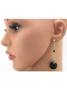 Σκουλαρίκια ασημένια επιπλατινωμένα με μαύρες στρογγυλές πέτρες ζιργκόν