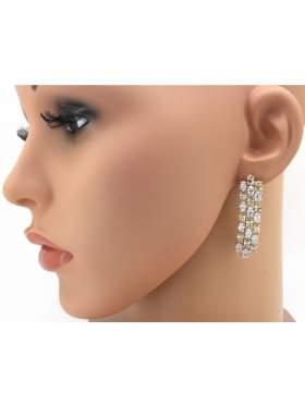 Σκουλαρίκια ασημένια επιπλατινωμένα με άσπρες και κίτρινες πέτρες ζιργκόν