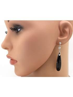 Σκουλαρίκια ασημένια επιπλατινωμένα με μαύρες πέτρες ζιργκόν