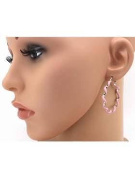 Σκουλαρίκια ασημένια επιπλατινωμένα με σμάλτο ροζ σε σχέδιο κρίκο