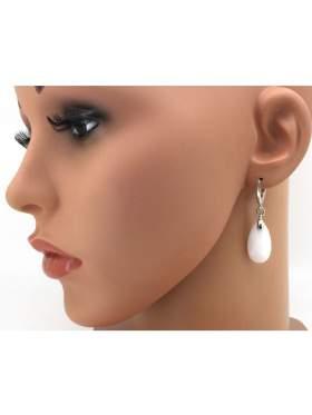Σκουλαρίκια ασημένια επιπλατινωμένα με πέτρα λευκή