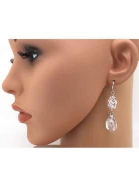 Σκουλαρίκια ασημένια επιπλατινωμένα με λευκές πέτρες ζιργκόν