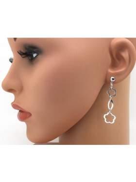 Σκουλαρίκια ασημένια επιπλατινωμένα χωρίς πέτρα