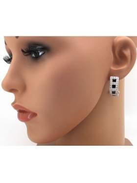 Σκουλαρίκια ασημένια επιπλατινωμένα με άσπρες μαύρες πέτρες ζιργκόν