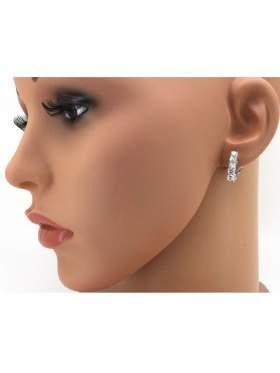 Σκουλαρίκια ασημένια επιπλατινωμένα με άσπρες πέτρες ζιργκόν σε σχέδιο Κλιπ για ατρύπητα αυτιά