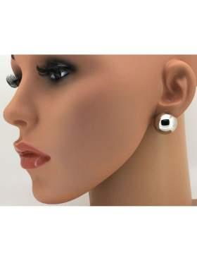 Σκουλαρίκια ασημένια επιπλατινωμένα με κούμπωμα κλιπ για ατρύπητα αυτιά