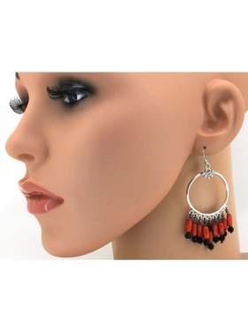 Σκουλαρίκια ασημένια επιπλατινωμένα με κόκκινες πέτρες από κοράλι και μαύρες ζιργκόν