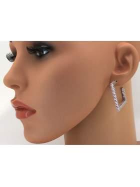 Σκουλαρίκια ασημένια επιπλατινωμένα με ροζ πέτρες ζιργκόν