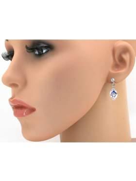 Σκουλαρίκι ασημένιο επιπλατινωμένο με άσπρη και γαλάζια πέτρα ζιργκόν σε σχέδιο μάτι