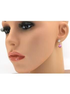 Σκουλαρίκια ασημένια επιπλατινωμένα με ροζ και άσπρες πέτρες ζιργκόν