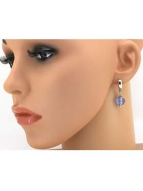 Σκουλαρίκι ασημένιο επιπλατινωμένο με γαλάζιες πέτρες ζιργκόν