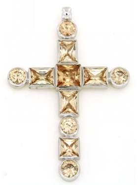 Σταυρός ασημένιος επιπλατινωμένος με κίτρινες πέτρες ζιργκόν