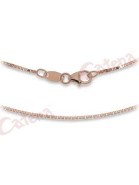 Αλυσίδα ασημένια με ροζ επιχρύσωμα με κούμπωμα ασφαλείας περασμένη με διαμάντι και είναι γυαλιστερή