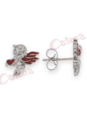 Σκουλαρίκια ασημένια επιπλατινωμένα με κόκκινο σμάλτο σε σχέδιο έρωτας