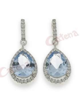 Σκουλαρίκια ασημένια επιπλατινωμένα στολισμένα με άσπρες πέτρες ζιργκόν και γαλάζια