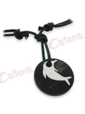 Μενταγιόν μαύρο αντρικό στρογγυλό με δελφίνι