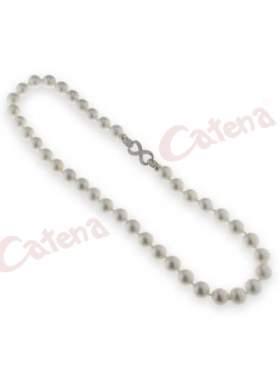 Κολιέ με ασημένιο κούμπωμα με πέτρες ζιργκόν και πέρλες  σε χρώμα λευκό