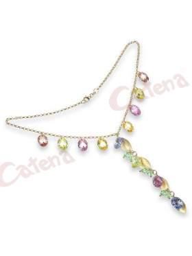 Κολιέ  με μήκος εως 55 cm, με κούμπωμα, αλυσίδα, διάφορα σχήματα, σε χρώμα νερού, σαμπανιζέ, επιχρυσομένο, κίτρινο, ροζ, πράσινο, με επίχρυσο φινίρισμα, αμμοβολισμένο