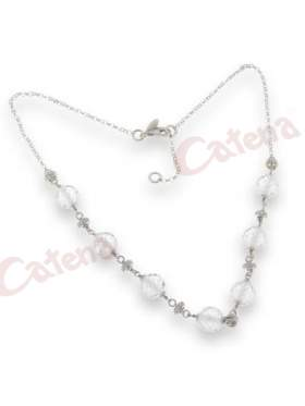 Κολιέ  μήκος μέχρι 55 cm, αλυσίδα, με στρογγυλές πέτρες ζιργκόν σε χρώμα λευκό με φινίρισμα ροδίου