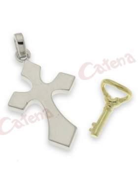 Σταυρός ασημένιος επιπλατινωμένος με κίτρινο κλειδί κρέμονται και τα δυο μαζί