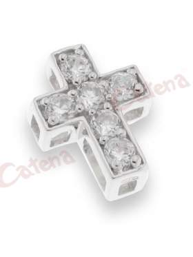 Σταυρός μενταγιόν ασημένιος, με στρογγυλές πέτρες ζιργκόν σε χρώμα λευκό με φινίρισμα ροδίου