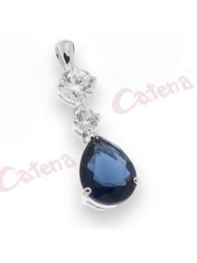 Μενταγιόν με πέτρες ζιργκόν, με στρογγυλή πέτρα, σε χρώμα λευκό, μπλε