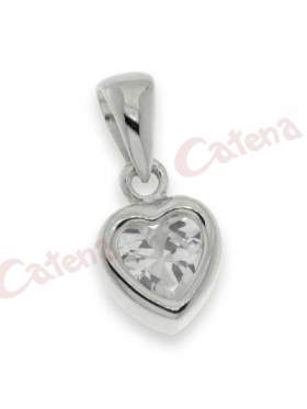 Μενταγιόν ασημένιο επιπλατινωμένο με άσπρες πέτρες ζιργκόν σε σχέδιο καρδιά