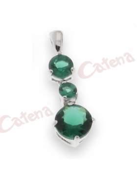 Μενταγιόν με στρογγυλή πέτρα ζιργκόν, σε χρώμα πράσινο, με φινίρισμα κανονικό επιπλατίνωμα