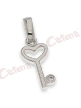 Μενταγιόν κλειδί-κλειδαριά σε χρώμα λευκό