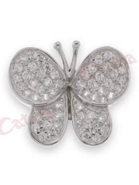 Ασημένιο μενταγιόν δίχρωμο στολισμένο με άσπρες πέτρες ζιργκόν σχέδιο πεταλούδα