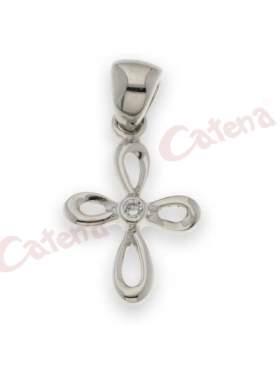 Σταυρός μενταγιόν,με στρογγυλή πέτρα ζιργκόν σε χρώμα λευκό με φινίρισμα ροδίου