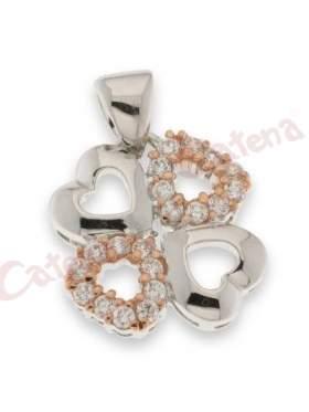 Μενταγιόν ασημένιο επιπλατινωμένο με τέσσερις  καρδιές ενωμένες και άσπρες πέτρες ζιργκόν και ροζ επιχρύσωμα