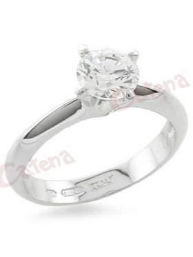 Δαχτυλίδι  με στρογγυλές πέτρες ζιργκόν σε χρώμα λευκό με φινίρισμα ροδίου
