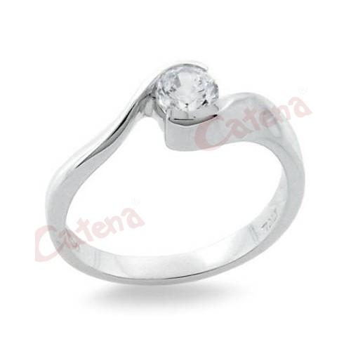 Δαχτυλίδι ασημένιο επιπλατινωμένο στολισμένο με άσπρη πέτρα ζιργκόν σε  σχέδιο μονόπετρο b43fa2b8ee0