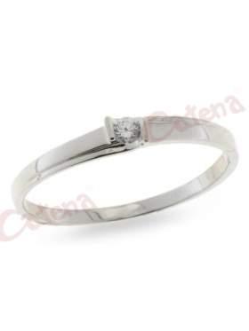 Δαχτυλίδι ασημένιο επιπλατινωμένο με άσπρη πέτρα ζιργκόν με φινίρισμα λουστρέ σχέδιο μονόπετρο